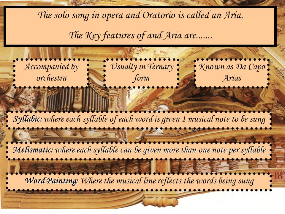 The solo song in opera and Oratorio is called an Aria,