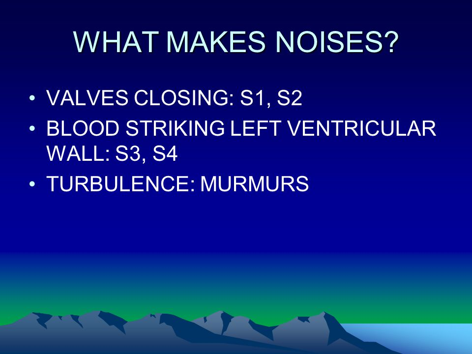 WHAT MAKES NOISES VALVES CLOSING: S1, S2