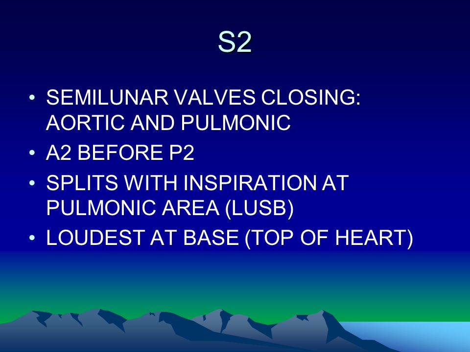S2 SEMILUNAR VALVES CLOSING: AORTIC AND PULMONIC A2 BEFORE P2