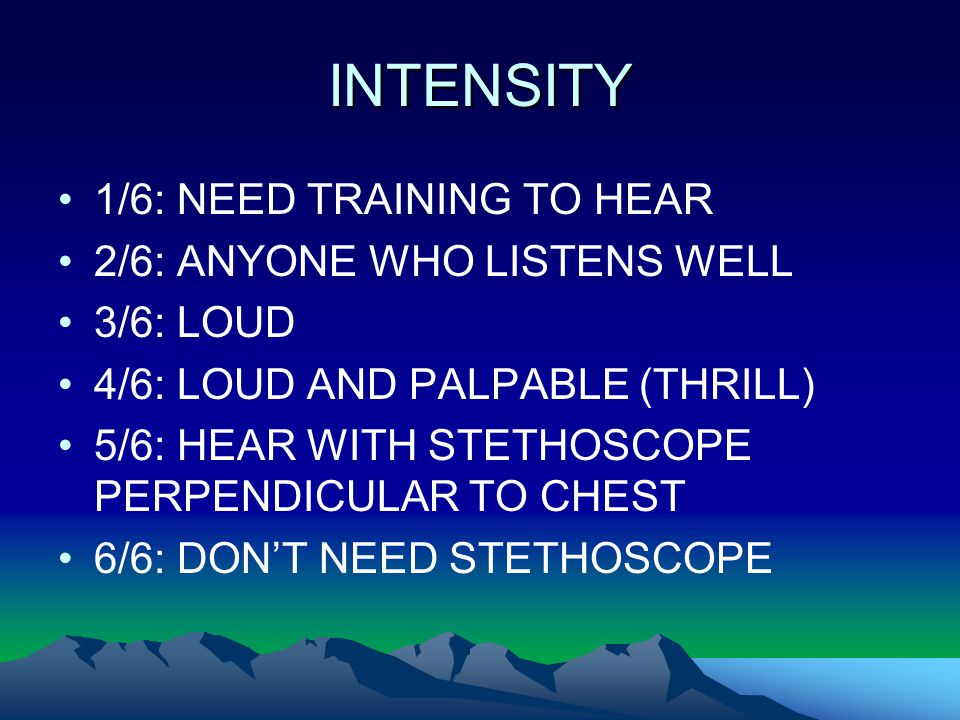 INTENSITY 1/6: NEED TRAINING TO HEAR 2/6: ANYONE WHO LISTENS WELL