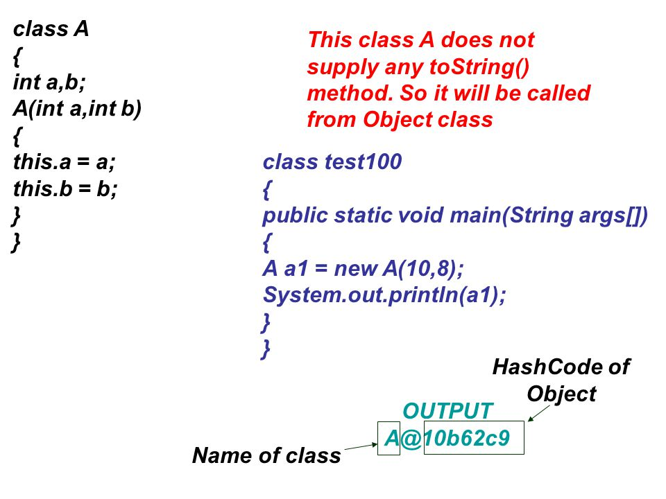 class A { int a,b; A(int a,int b) this.a = a; this.b = b; }