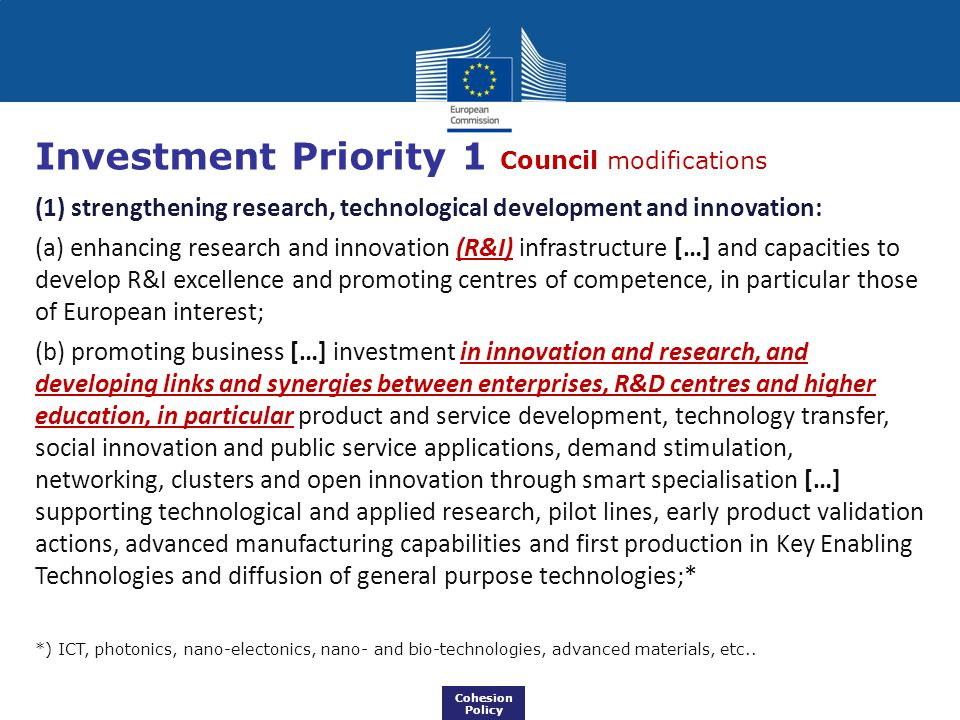Investment Priority 1 Council modifications