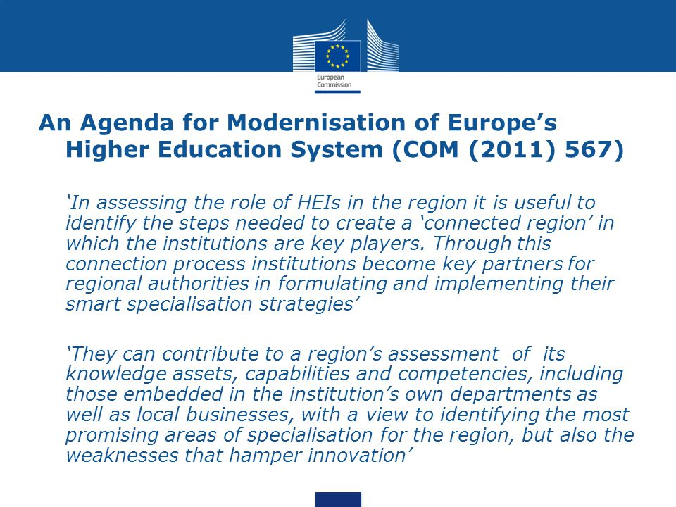 An Agenda for Modernisation of Europe's Higher Education System (COM (2011) 567)
