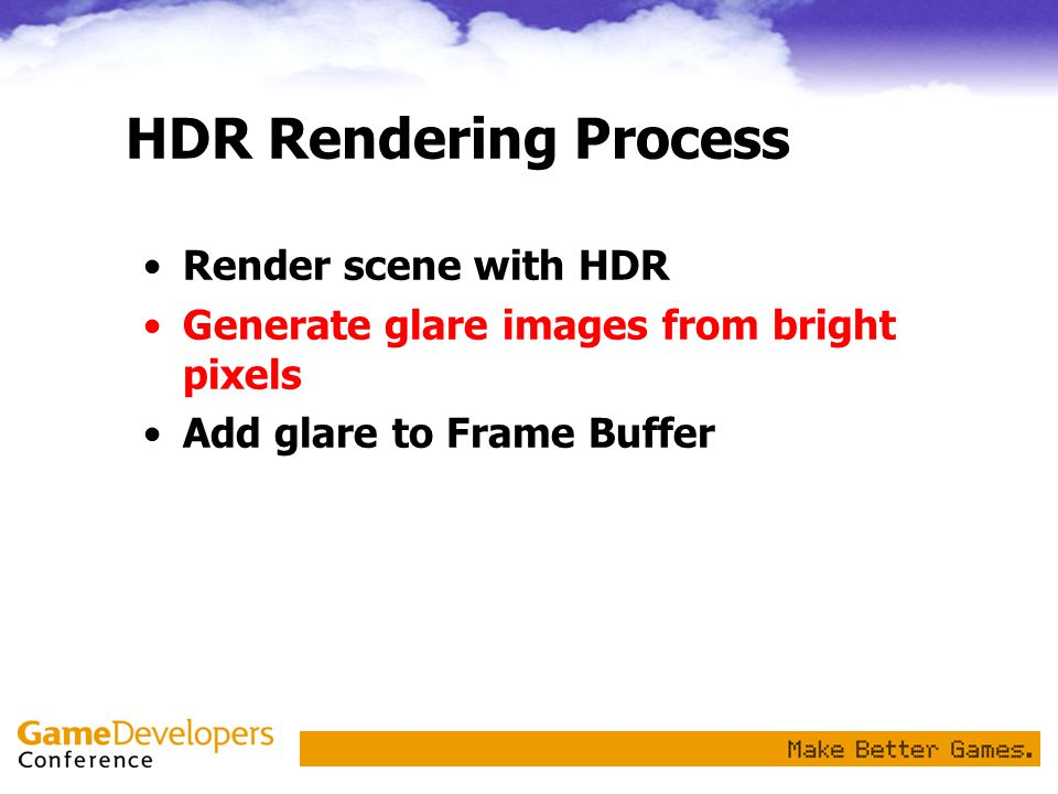 HDR Rendering Process Render scene with HDR