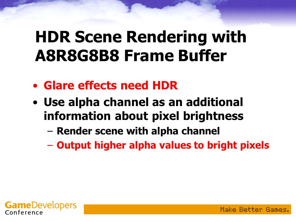HDR Scene Rendering with A8R8G8B8 Frame Buffer