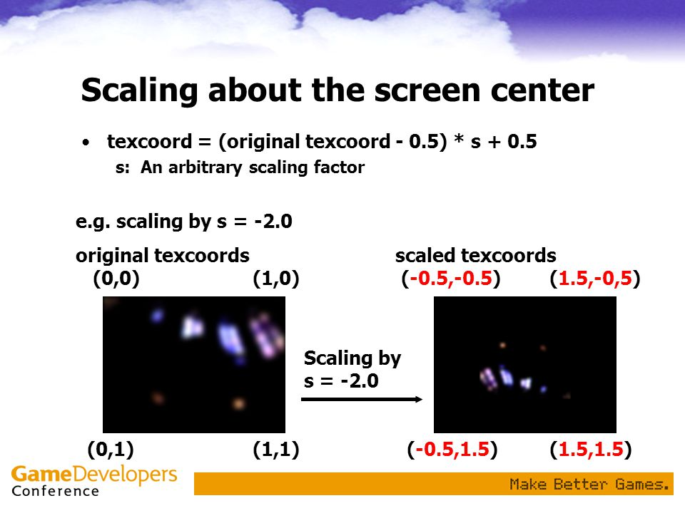 Scaling about the screen center