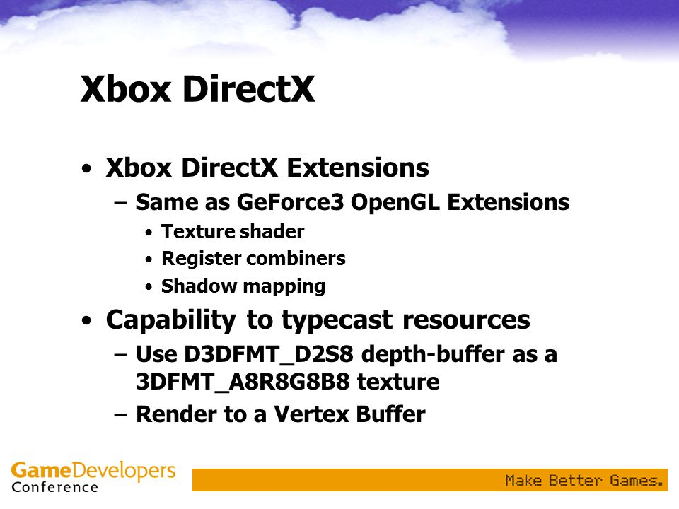 Xbox DirectX Xbox DirectX Extensions Capability to typecast resources