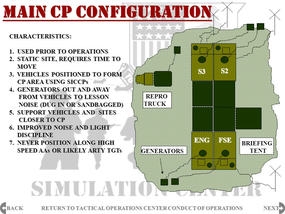 MAIN CP CONFIGURATION S3 S2 ENG FSE CHARACTERISTICS: