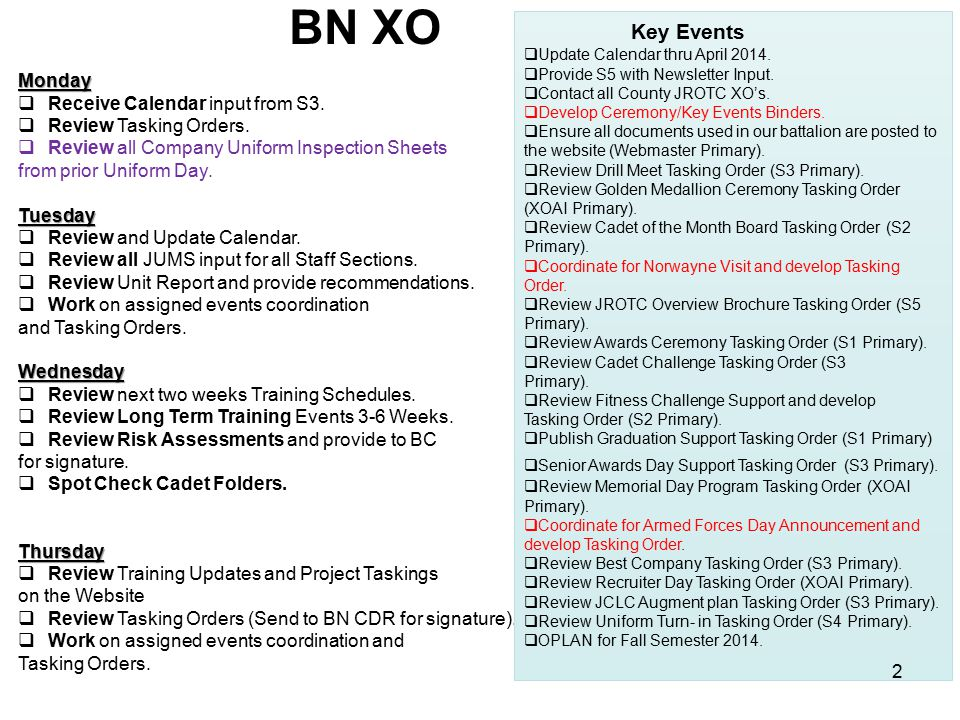 BN XO Key Events Monday Receive Calendar input from S3.