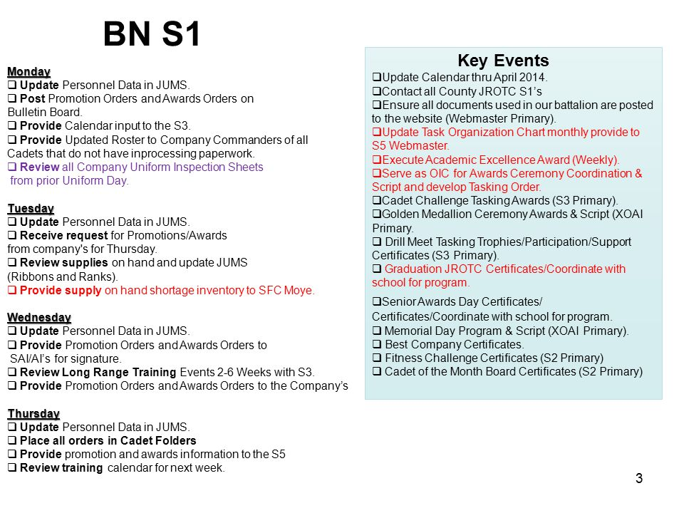 BN S1 Key Events Update Calendar thru April 2014. Monday
