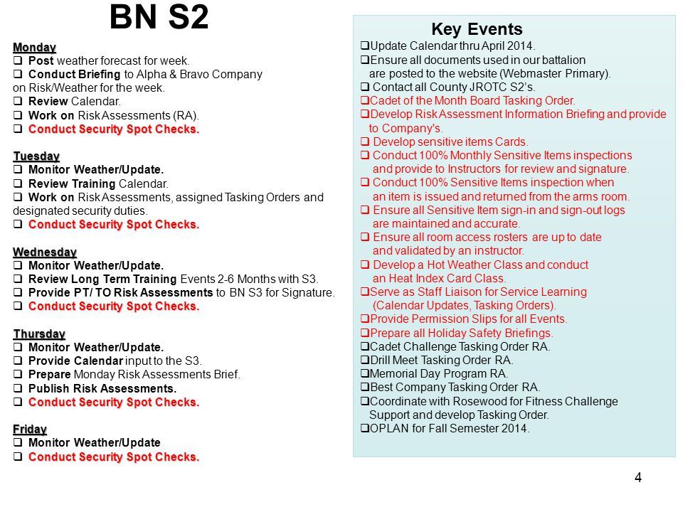 BN S2 Key Events Update Calendar thru April 2014.