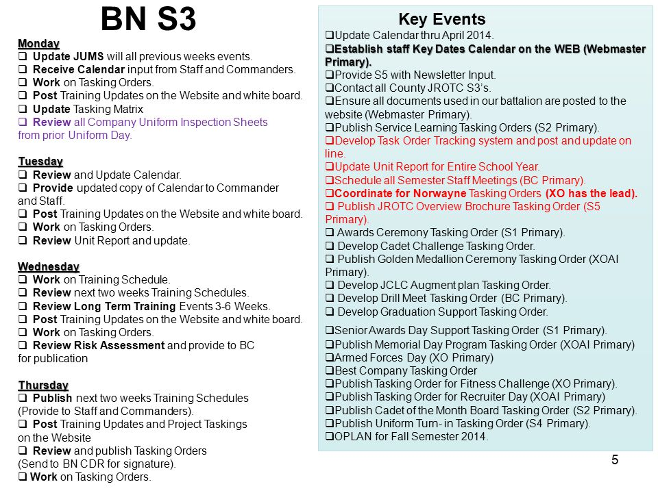 BN S3 Key Events Update Calendar thru April 2014.
