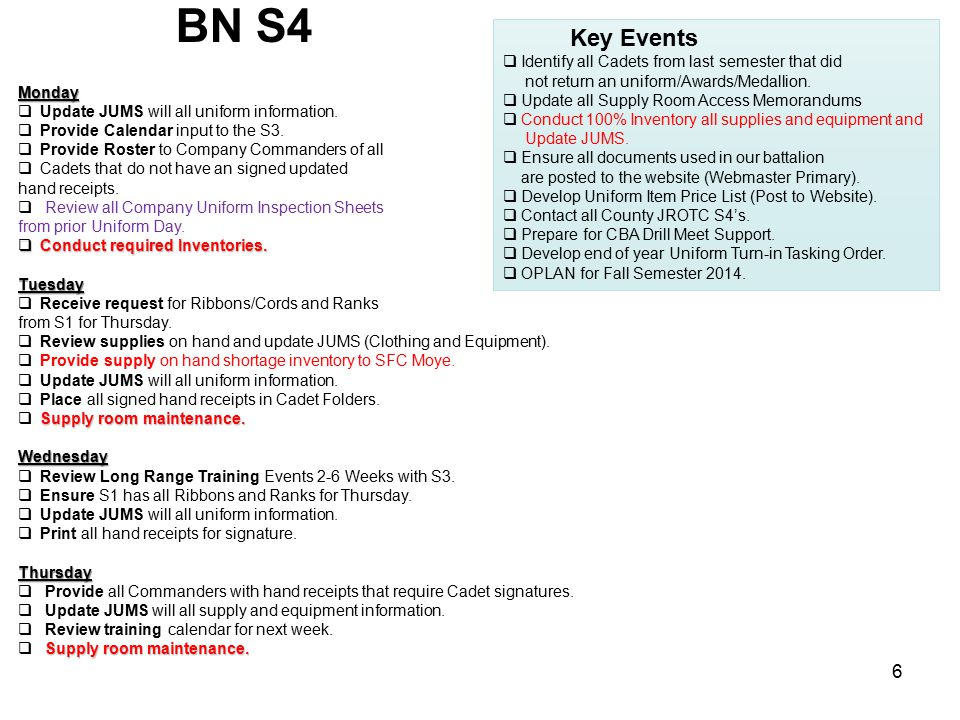BN S4 Key Events Identify all Cadets from last semester that did