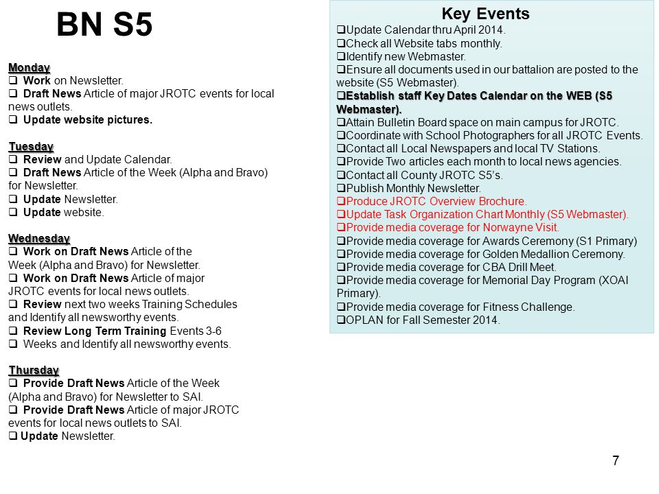 BN S5 Key Events Update Calendar thru April 2014.