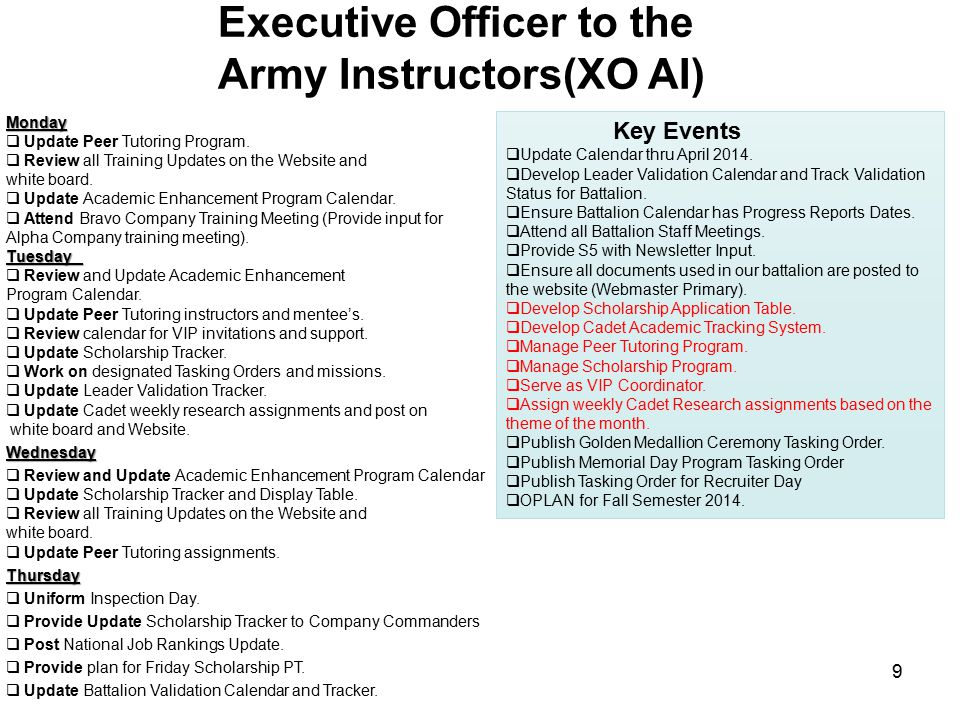 Executive Officer to the Army Instructors(XO AI)