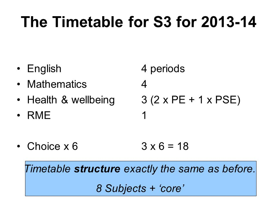 The Timetable for S3 for 2013-14