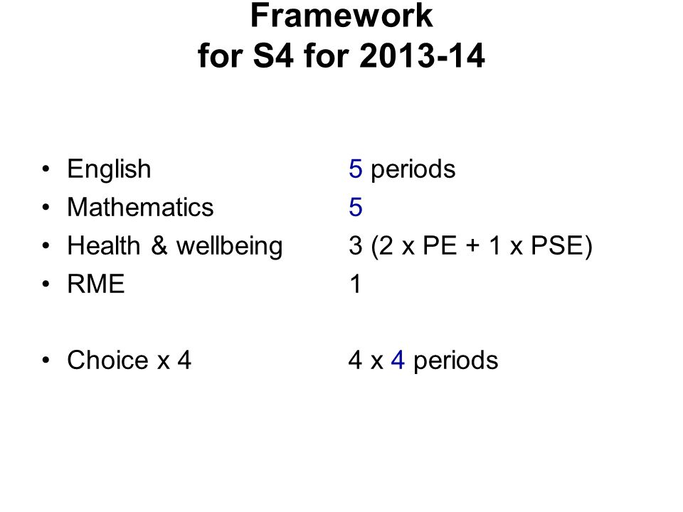 Framework for S4 for 2013-14 English Mathematics Health & wellbeing