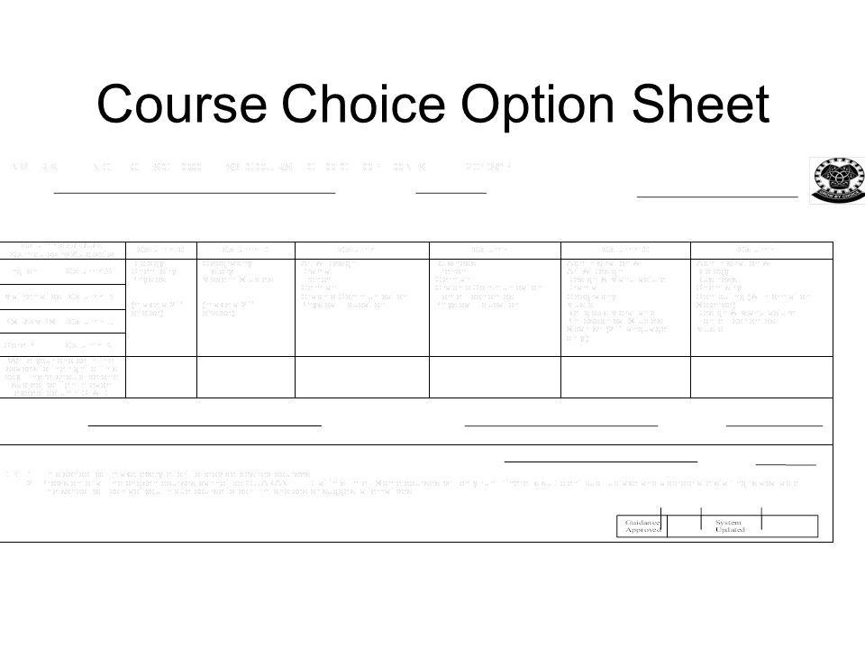 Course Choice Option Sheet