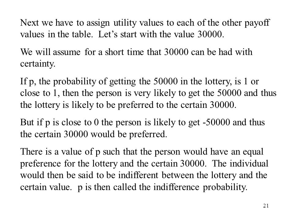 Next we have to assign utility values to each of the other payoff values in the table. Let's start with the value 30000.
