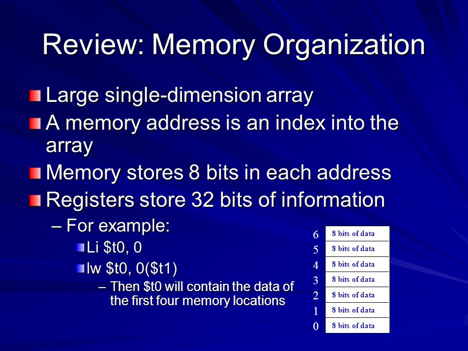 Review: Memory Organization