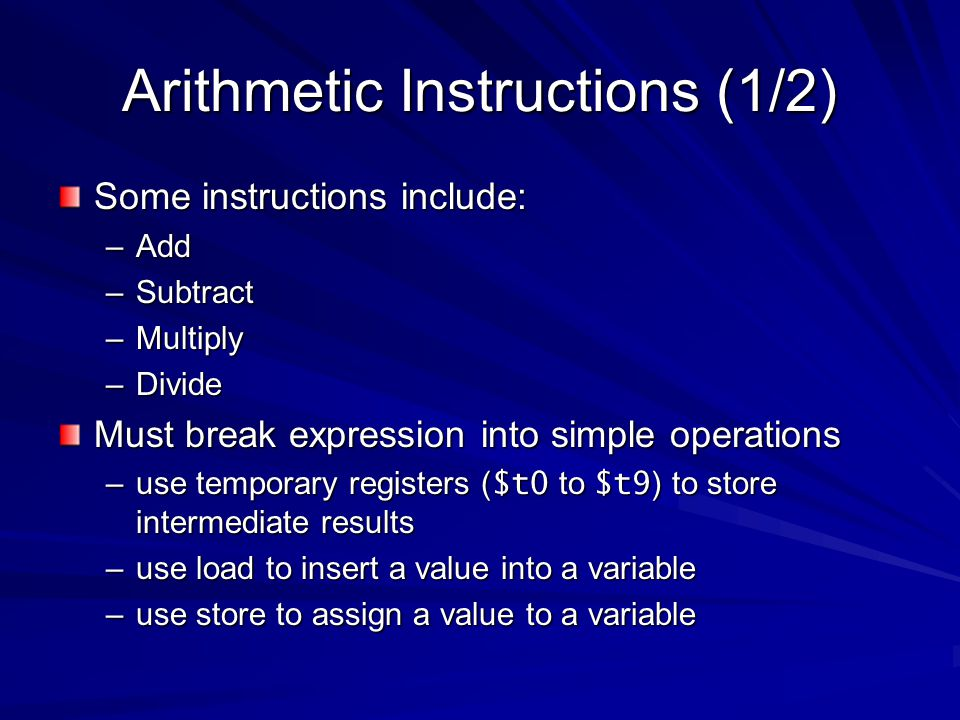 Arithmetic Instructions (1/2)