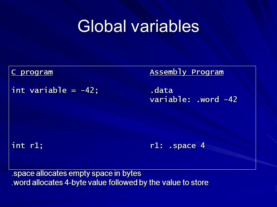 Global variables C program Assembly Program int variable = -42; .data