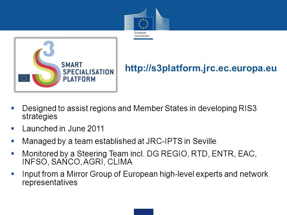 http://s3platform.jrc.ec.europa.eu Designed to assist regions and Member States in developing RIS3 strategies.
