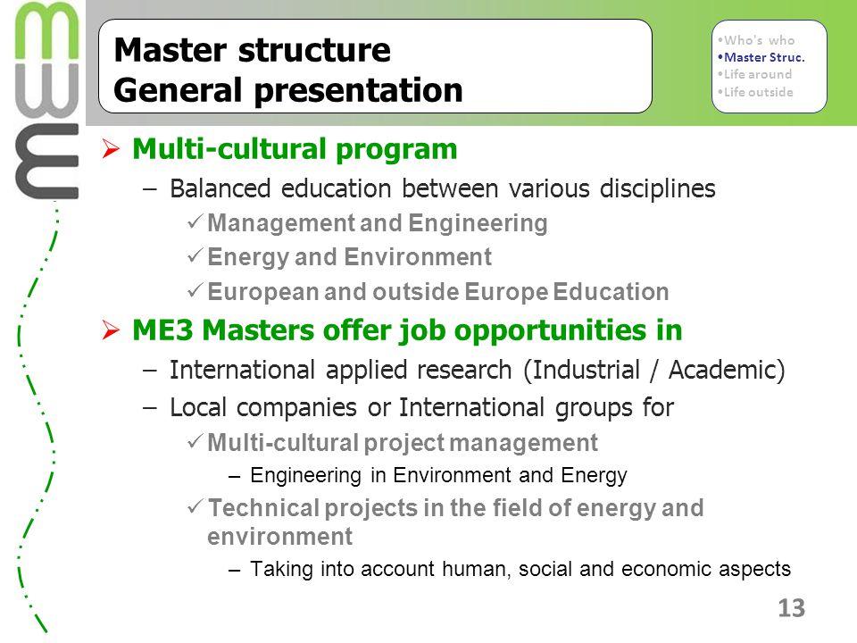 Master structure General presentation