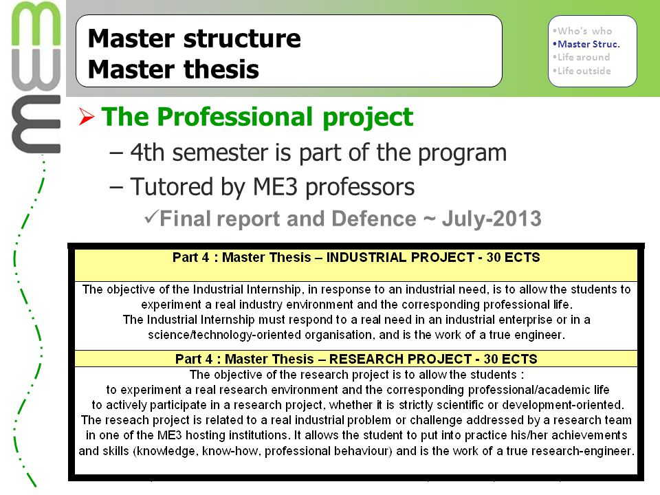 Master structure Master thesis