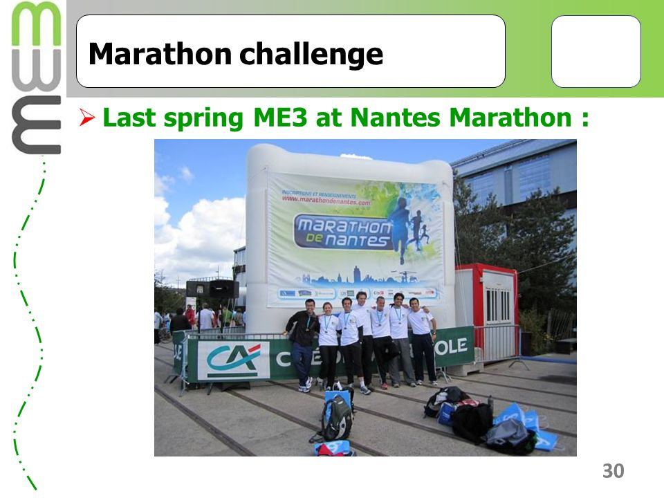 Marathon challenge Last spring ME3 at Nantes Marathon :