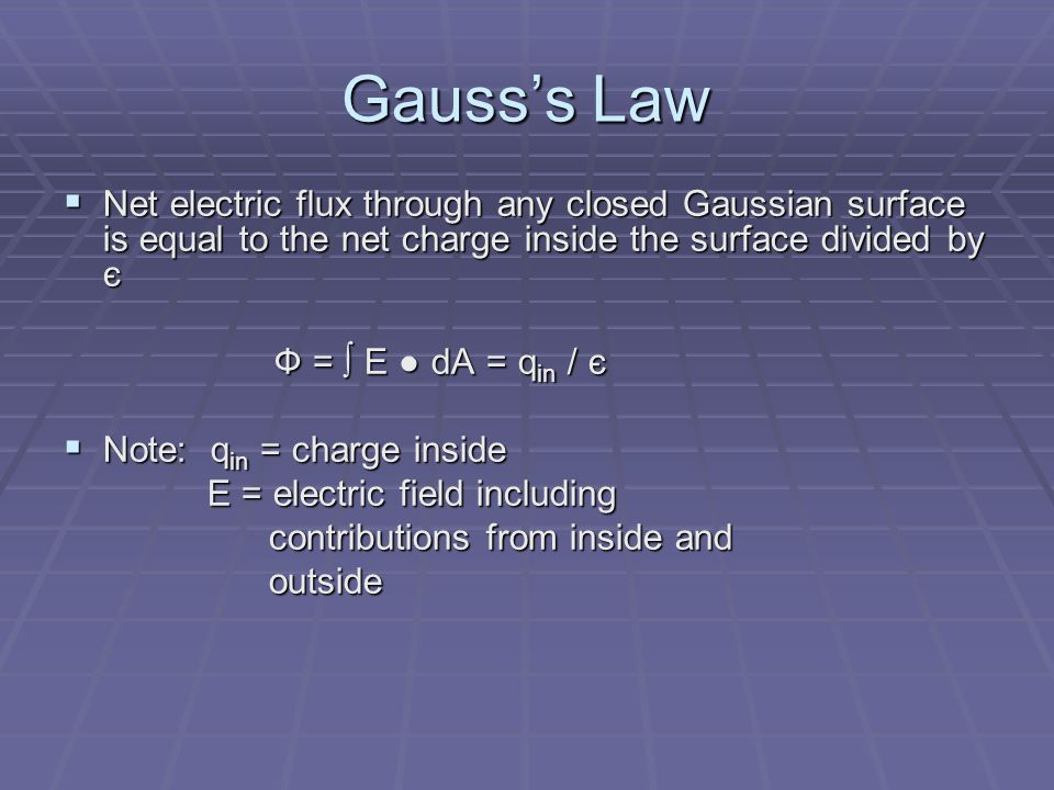 Gauss's Law Net electric flux through any closed Gaussian surface is equal to the net charge inside the surface divided by є.