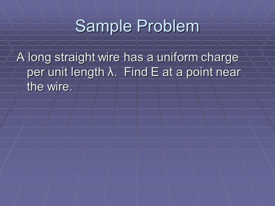 Sample Problem A long straight wire has a uniform charge per unit length λ.