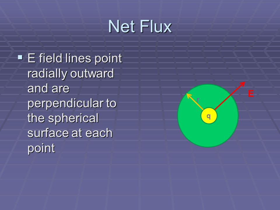 Net Flux E field lines point radially outward and are perpendicular to the spherical surface at each point.
