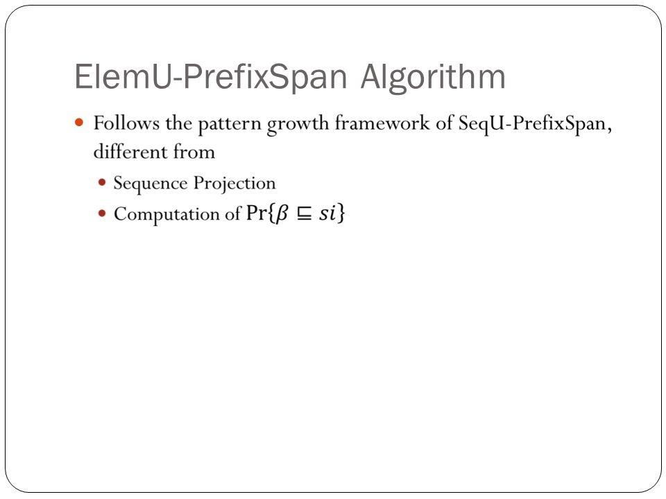 ElemU-PrefixSpan Algorithm