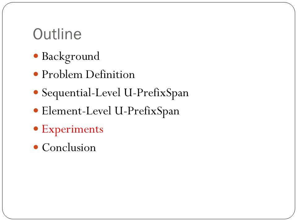 Outline Background Problem Definition Sequential-Level U-PrefixSpan