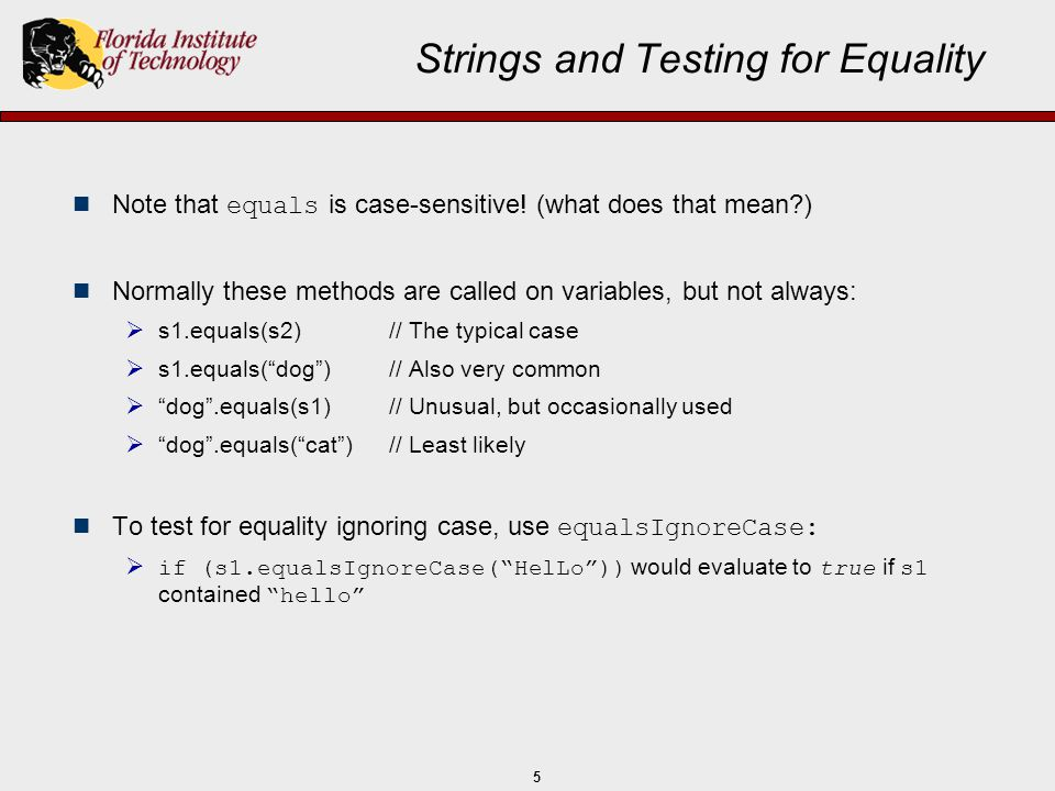 Strings and Testing for Equality