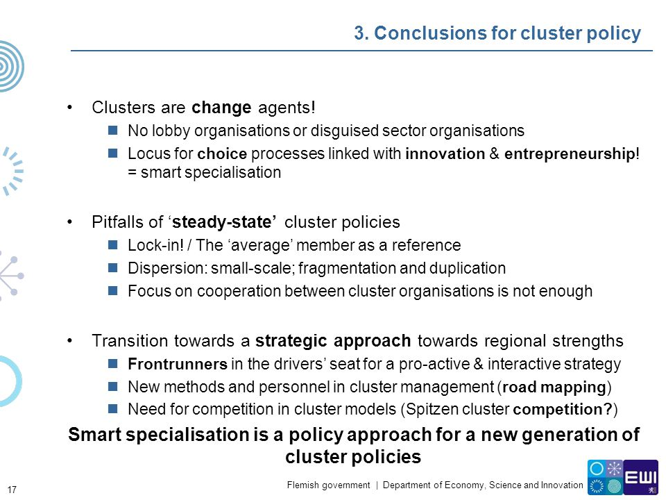 3. Conclusions for cluster policy