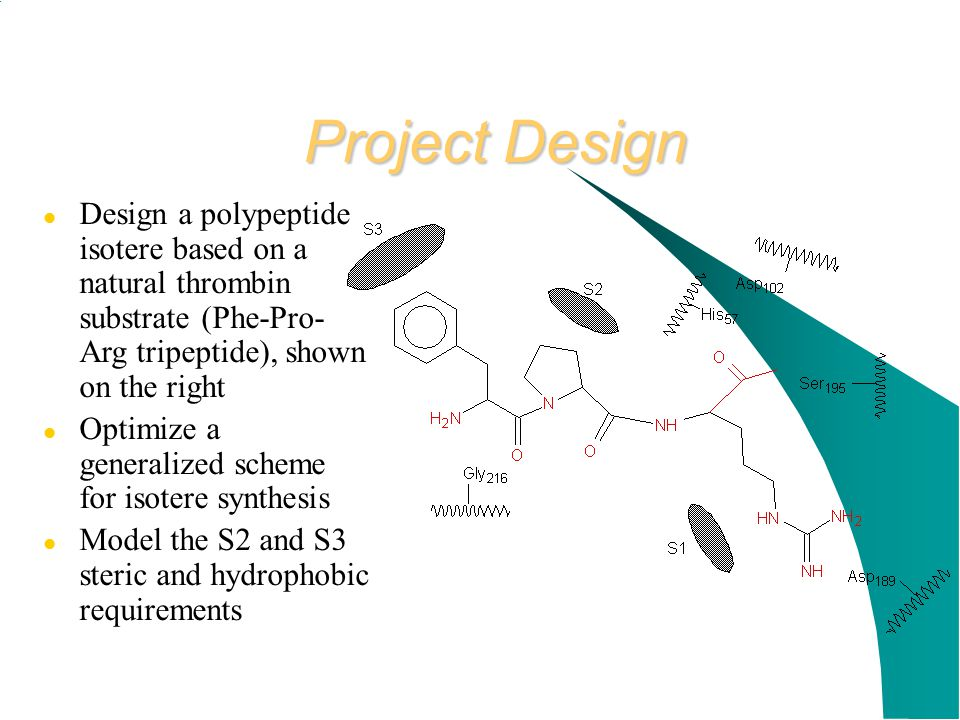 Project Design Design a polypeptide isotere based on a natural thrombin substrate (Phe-Pro-Arg tripeptide), shown on the right.