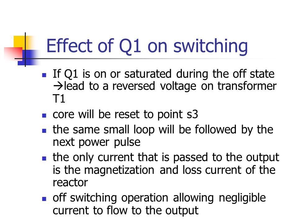 Effect of Q1 on switching