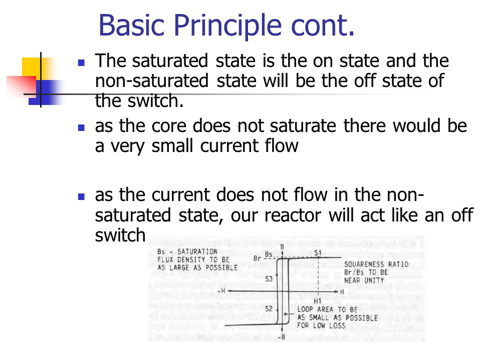Basic Principle cont. The saturated state is the on state and the non-saturated state will be the off state of the switch.