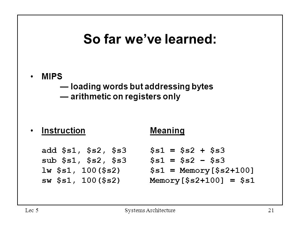 September 4, 1997 September 4, So far we've learned: MIPS — loading words but addressing bytes — arithmetic on registers only.