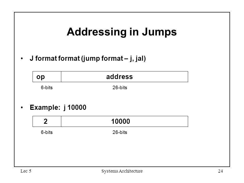 Addressing in Jumps J format format (jump format – j, jal) op address