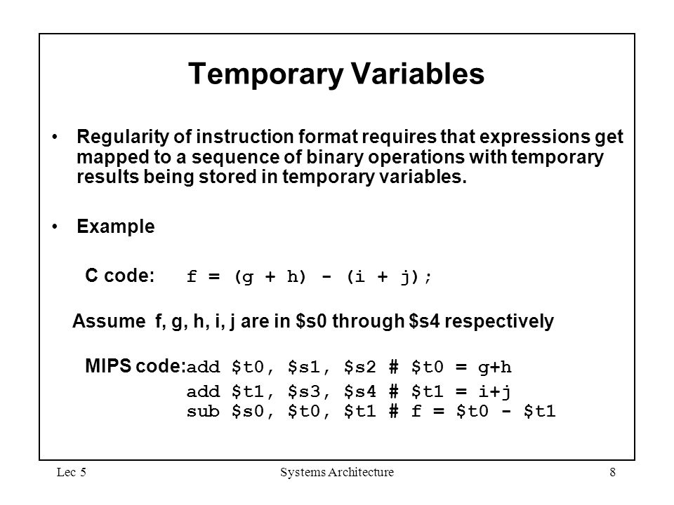 September 4, 1997 Temporary Variables.