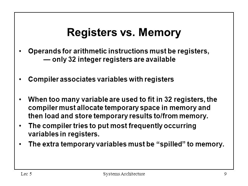 September 4, 1997 Registers vs. Memory. Operands for arithmetic instructions must be registers, — only 32 integer registers are available.