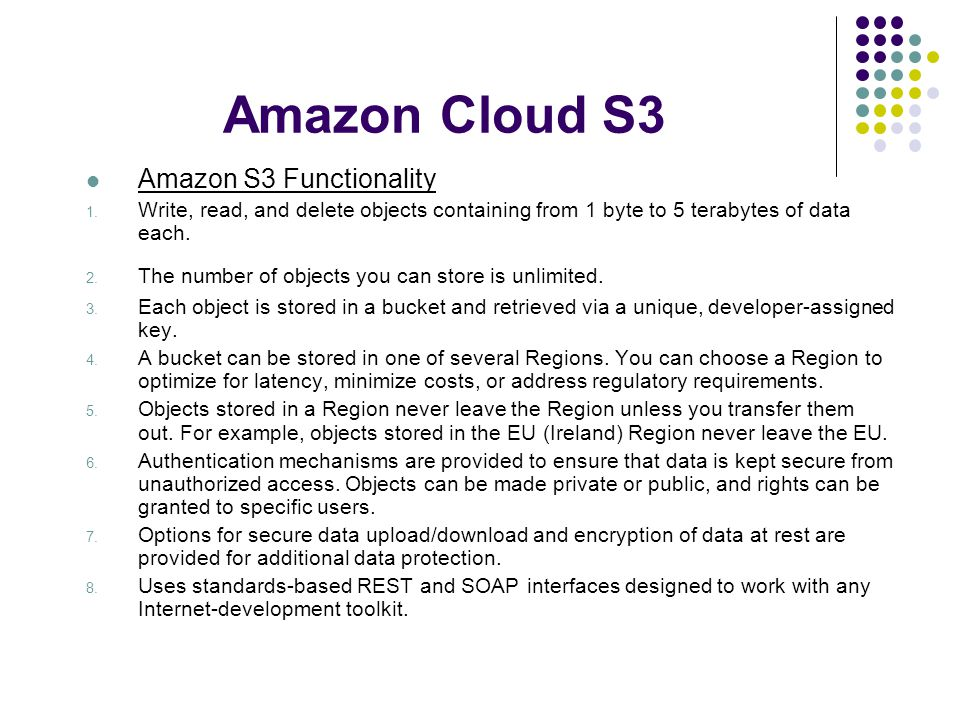 Amazon Cloud S3 Amazon S3 Functionality