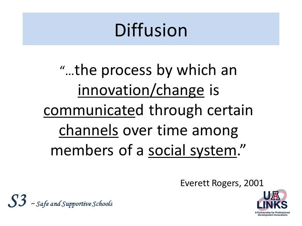 Diffusion …the process by which an innovation/change is communicated through certain channels over time among members of a social system.