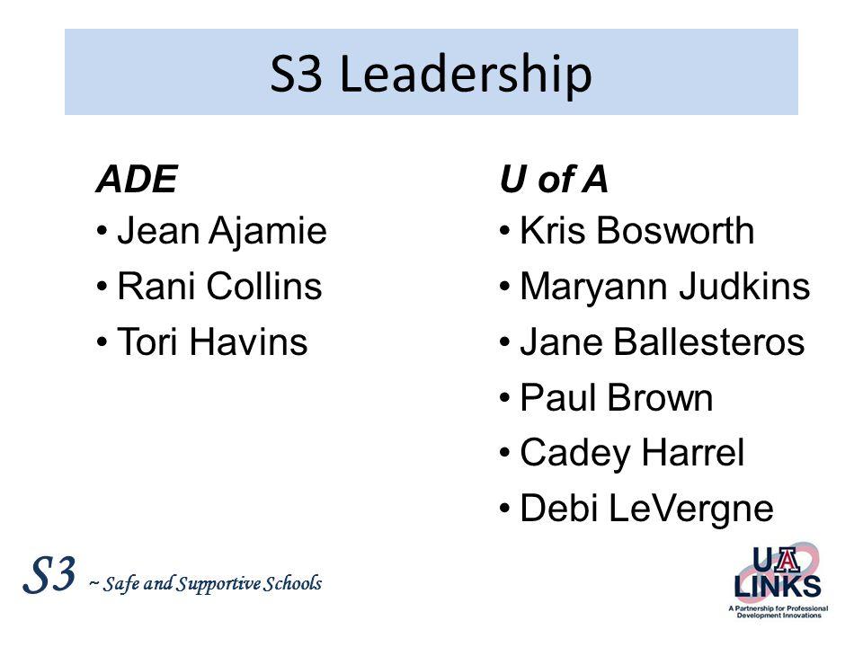 S3 Leadership ADE Jean Ajamie Rani Collins Tori Havins U of A