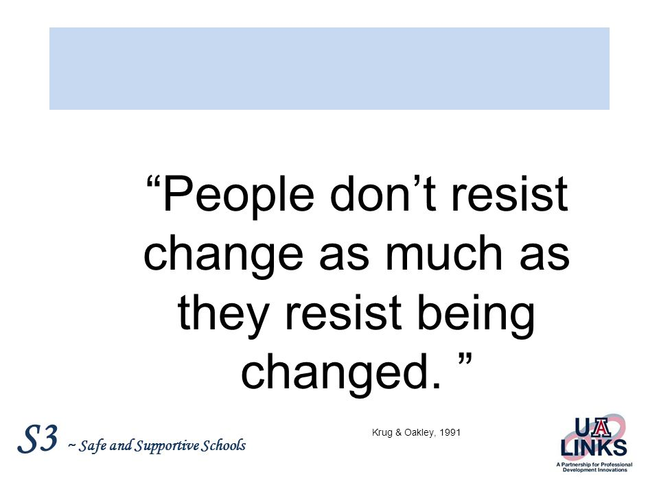 People don't resist change as much as they resist being changed.