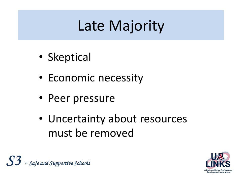 Late Majority Skeptical Economic necessity Peer pressure