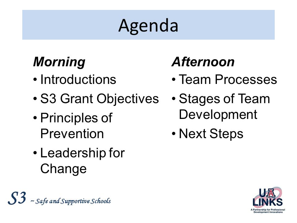 Agenda Morning Introductions S3 Grant Objectives